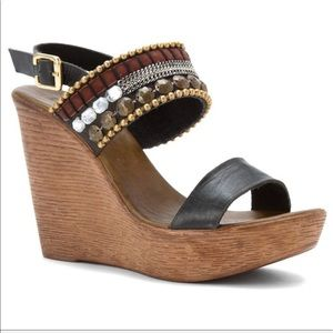 Unique Leather Boho Embellished Chic Wedge Sandal